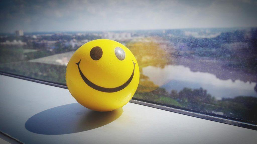 smiley sitting on windowsill